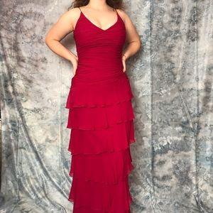 Magenta ruffled formal maxi dress